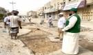 حملة شبابية في سيئون لردم الحفريات بدعم من قيادة التحالف وإشراف البرنامج السعودي لأعمار اليمن
