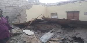 أبين .. انهيار  منزل بسبب الامطار الغزيرة ونجات السكان